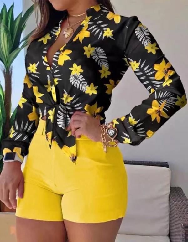 Conjunto de 2 piezas de blusa de manga larga amarilla con estampado formal de verano y pantalones cortos lisos
