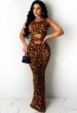 Sommer Sexy Cut Out Leopard Ärmelloses Langes Kleid