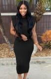 Vestido de tubo con cuello en O negro informal de verano