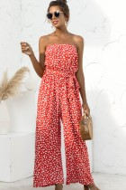 Sommer Casual Print Roter trägerloser Jumpsuit