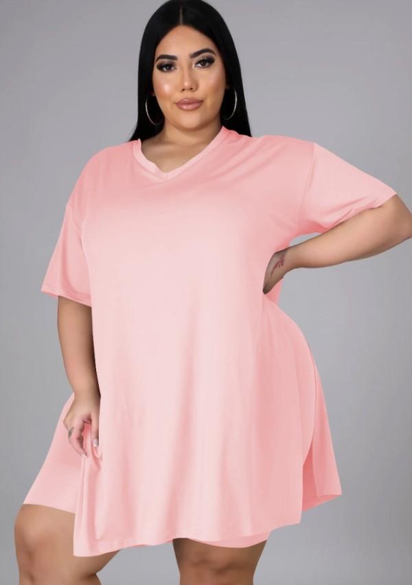 Sommer Plus Size Casual Pink Slit Shirt und Biker Shorts passendes Set