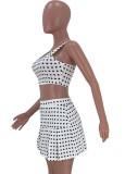 Conjunto de falda y sujetador deportivo de verano a lunares
