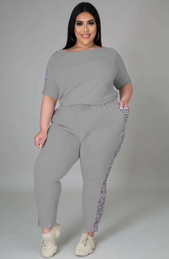 Sommer Plus Size Casual Grau Hemd und Hose Matching Set