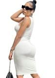 Vestido de tirantes ajustado blanco sexy casual de verano