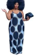 Vestido largo con tirantes de puntos casuales de talla grande de verano