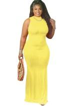 Vestido de fiesta largo amarillo sin mangas sexy de verano