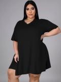Summer Plus Size Casual Black Slit Shirt y Biker Shorts Conjunto a juego
