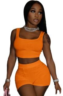 Conjunto de 2 peças de colete laranja casual de verão e shorts de motociclista