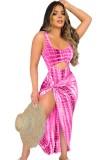 Vestido de fiesta largo sin mangas irregular recortado sexy con estampado de verano