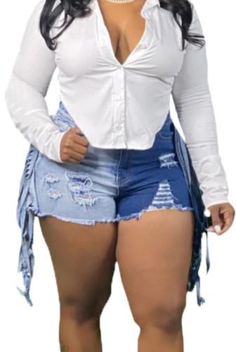 Summer Color Block High Waist Ripped Denim Shorts