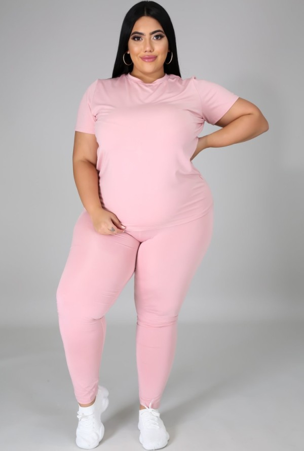 Sommer Plus Size Casual Rosa Hemd und Hose passendes Set