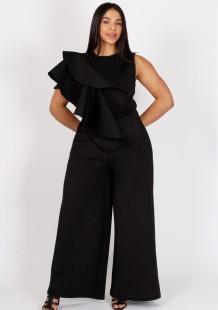 Macacão formal de verão plus size preto legges largo