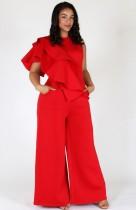 Summer Formal Plus Size Red Wide Legges Jumpsuit