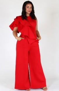 Macacão formal de verão plus size red Wide Legges