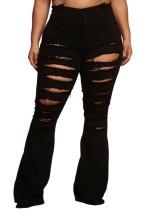 Jeans acampanados de cintura alta rasgados negros de verano