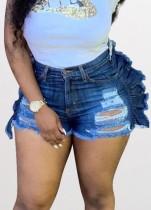 Summer Party Pantalones cortos de mezclilla con volantes rasgados azul oscuro