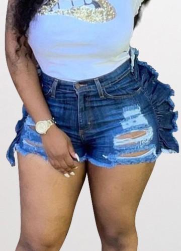 Summer Party Dark Blue Ripped Ruffles Denim Shorts