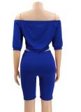 Sommer Casual Blue Off Shoulder Crop Top und Biker Shorts Matching Set
