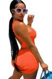Verano casual naranja apretado chaleco y pantalones cortos conjunto a juego