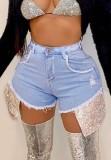 Pantalones cortos de mezclilla con parche de lentejuelas de cintura alta azul claro de fiesta de verano
