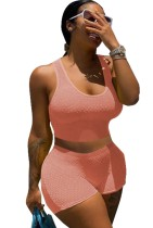 Conjunto a juego de chaleco y pantalones cortos ajustados de color rosa informal de verano