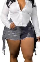 Pantalones cortos de mezclilla rasgados de cintura alta con bloques de color de verano
