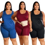 Sommer Plus Size Blue Casual Weste und Biker Shorts Matching Set