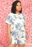 Sommer Casual Tie Dye Hemd und Shorts passendes Set