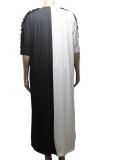 Vestido de camisa larga de bloque de color casual de verano de talla grande