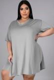 Summer Plus Size Casual Grey Slit Shirt y Biker Shorts Conjunto a juego