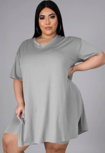 Zomer plus size casual grijs shirt met split en bikershort bijpassende set
