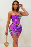 Zomer print sexy strapless crop top en ruches mini rok bijpassende set