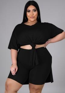 Zomer plus size casual zwart shirt met split en bikershort bijpassende set