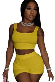 Conjunto de 2 piezas de chaleco amarillo informal de verano y pantalones cortos de motorista