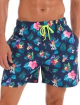 Summer Man Print Kordelzug Strandshorts