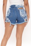 Summer Color Block Jeans-Shorts mit hoher Taille