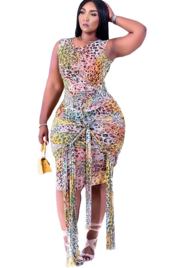 Sommer Sexy Leopard ärmellose Strings Bodycon Kleid