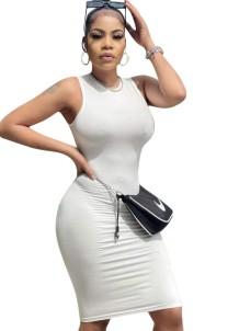 Sommer lässig sexy weiße enge Tank Kleid