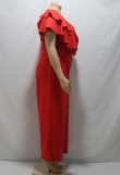 Sommer formale Plus Size Red Wide Legges Jumpsuit
