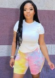 Sommer Freizeithemd und passende Tie Dye Shorts 2-teiliges Set