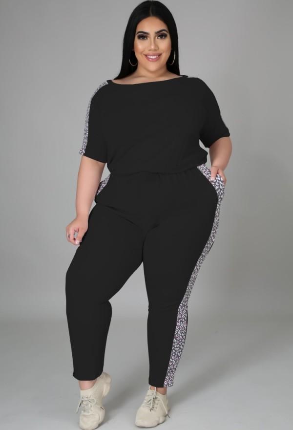 Summer Plus Size Casual Conjunto de camisa y pantalones negros a juego