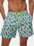 Pantalones cortos de playa con cordones con estampado de verano para hombre