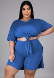 Sommer Plus Size Casual Blue Slit Shirt und Biker Shorts passendes Set