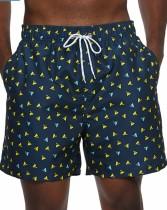Summer Man Print Drawstrings Beach Shorts