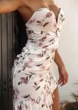 Sommer-Blumenweißes trägerloses Rüschen-unregelmäßiges Kleid