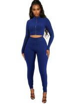 Conjunto de legging y top corto ajustado con volantes de verano azul