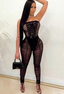 Macacão preto sexy sem alças de renda com franzido bodycon