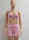 Summer Pink Sexy Strap Crop Top y Biker Shorts Set