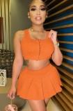 Summer Sports Orange Reißverschlussweste und Faltenrock Set