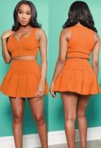Summer Sports Orange Zipper Vest and Pleated Skirt Set